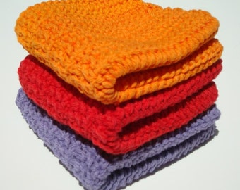 Three Fun Cotton Washcloths - Hot, Bright Red, Purple, Orange Washcloths - Crochet, Crocheted Washcloths, Wash Cloths - Hoooked Handmade