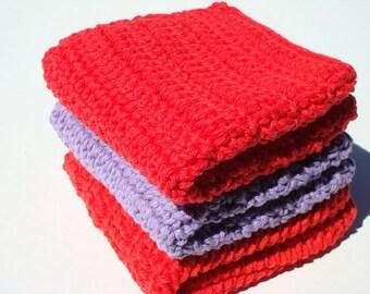 Three Cotton Washcloths - Purple and Red Washcloths - Crochet, Crocheted Washcloths, Wash Cloths
