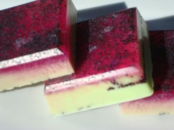 Apple Soap - Red and Green Soap Bar with Poppy Seeds - Homemade Soap - Bar Soap