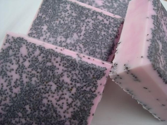 CLEARANCE Japanese Cherry Blossom Soap, Black and Pink Soap, Poppy Seed Soap, Homemade Soap, Pretty Soap, Bar Soap