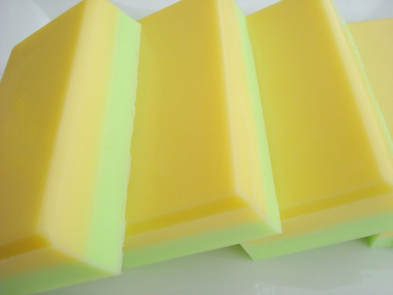 Lemon Lime Soap, Green and Yellow Stripe Soap, Homemade Soap, Bar Soap - 1/4 lb Soap - One Quarter Pound Soap