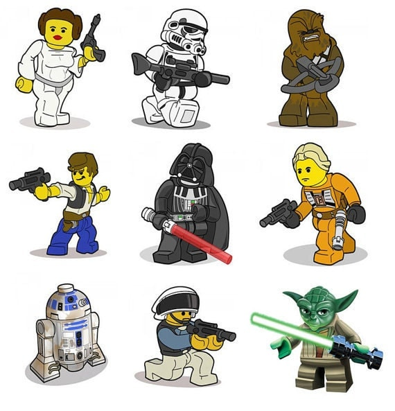 Items similar to lego star wars removable wall stickers for Autocollant mural star wars