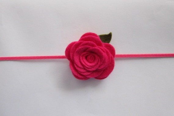 Skinny Headband & Rose Combo.  Felt Flower in Shocking Pink.  Accessory for Baby, Infant or Toddler. READY TO SHIP.