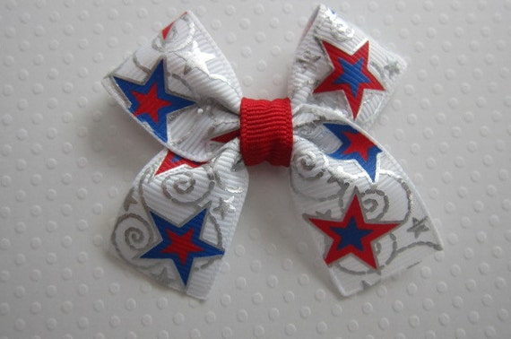 Patriotic Stars Bow with Metallic Accents - READY TO SHIP