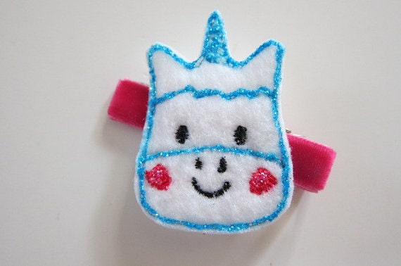 Unicorn Clippie with Glitter in Turquoise and Hot Pink - READY TO SHIP