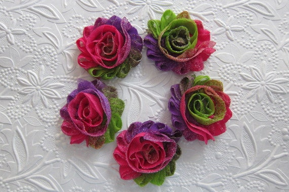 Set of 5 Tie Dyed Shabby Flower Trim in Hot Pink, Purple & Lime Accented in Glitter