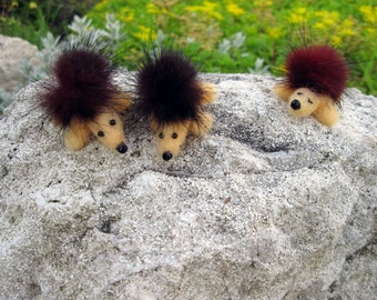 Eco friendly toy Hedgehog Mother daughter son Mothers day gift  Children art Dollhouse miniature Party decoration Woodland Felt animal Beige