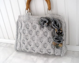 Gray knitted tote bag Spring office fashion Wedding handmade accessories Gift ideas for mom mother Handbags bags purses