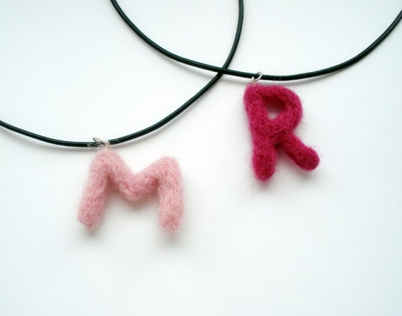 Personalized children necklace Eco friendly  Christmas Birthday gift for kids Initial name pendant  Felted jewelry boys girls custom letters