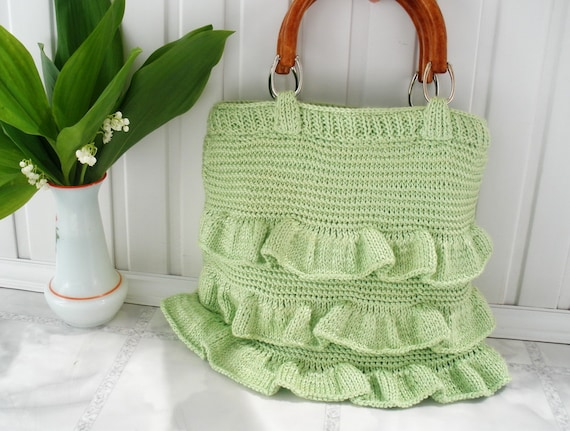 Party tote bag Spring bag Mint green pastel Totes purses handbag  Crocheted knitted knit Womens accessories Gift for mom