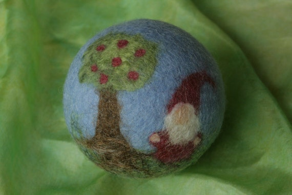 """Wool felted ball """"Gnome and apple tree"""""""