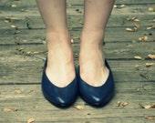 Navy Blue Leather Ballet Flats Deadstock 8 / 8.5