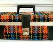 SALE Seventies 70s Mod 8 Track Case Funky Plaid With Eight Tapes INCLUDED