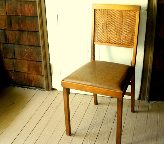 RESERVED for Sara Mid Century Wood Folding Chair With Weaved Caning Back and Vinyl Covered Seat 1960s SALE