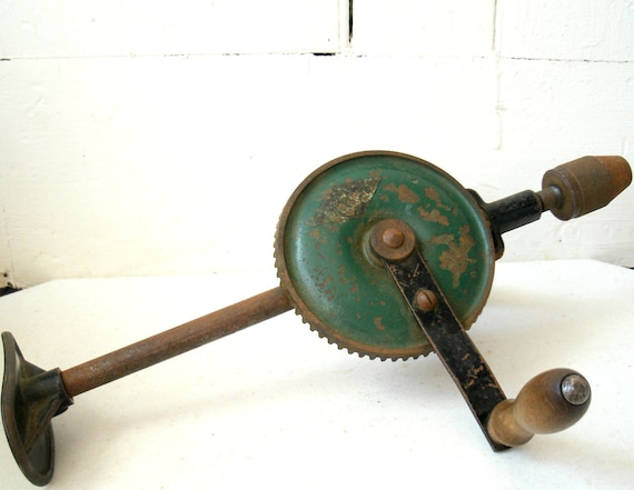 Industrial Antique Tool Hand Crank Drill 15 Inch  1940s
