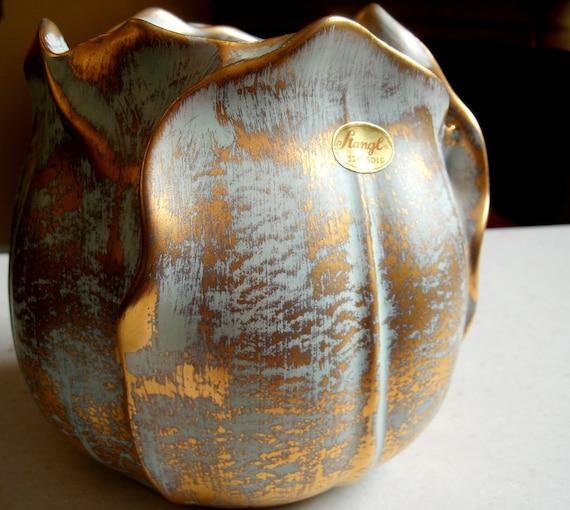 Stangl Vase Tulip Shaped Vase Sea Foam Green and 22K Gold 1878M
