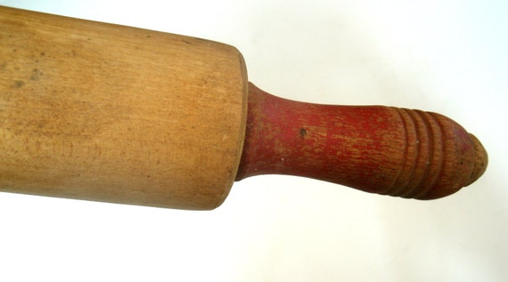 Wood Rolling Pin with Red Painted Handles