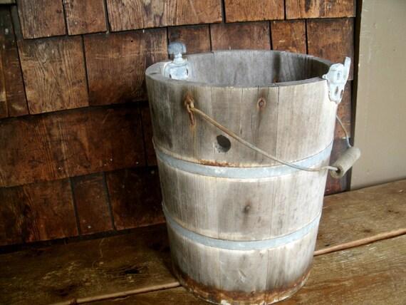 "Antique Wood Bucket 13.25"" Tall"