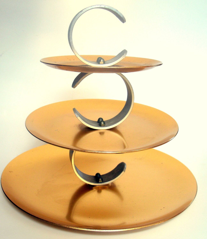 3 tier aluminum serving stand serving tray regal ware. Black Bedroom Furniture Sets. Home Design Ideas