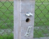 """The """"Duplex Living"""" Handcrafted Shabby Chic Birdhouse with two entrances and two perches"""