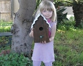 "The ""California Beach House"" Rustic Garden Birdhouse made with reclaimed California Redwood and upcycled materials"