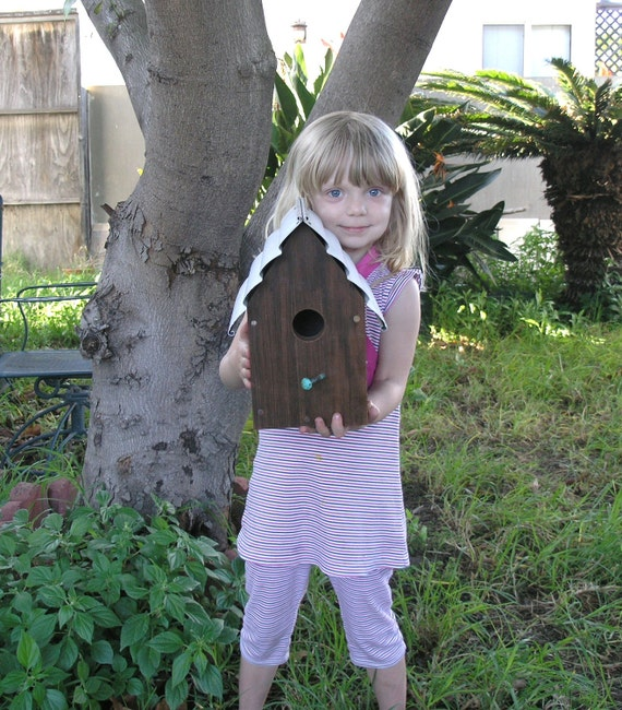 """The """"California Beach House"""" Rustic Garden Birdhouse made with reclaimed California Redwood and upcycled materials"""
