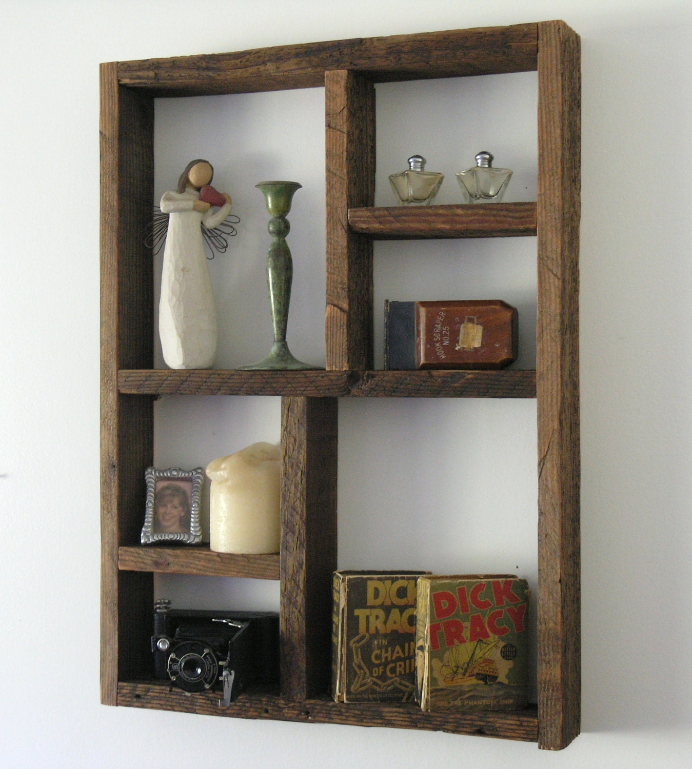 Natural Rustic Large Wood Shadow Box Shelf Made With Reclaimed