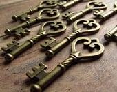 Foix Antique Brass/Bronze Skeleton Key - Set of 10