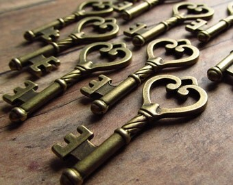 Foix Antique Brass/Bronze Skeleton Key - Set of 10