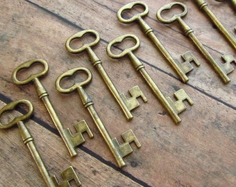 Ballymore Antique Brass/Bronze Skeleton Key - Set of 10