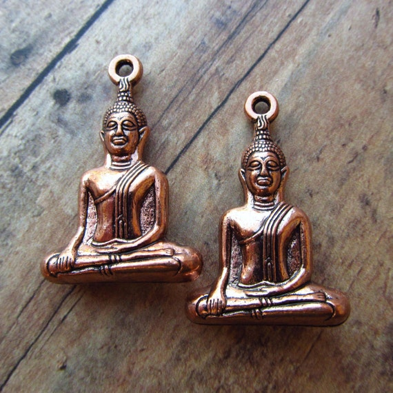 CLOSEOUT: Seated Buddha Charm Pendants in Antique Copper - Set of 2 (H24)