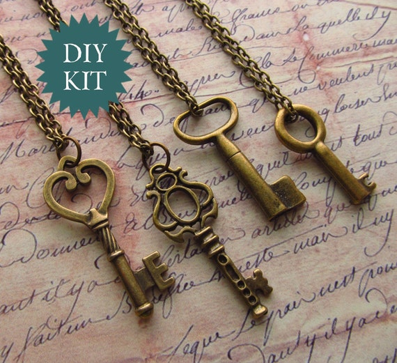 DIY Kit - for FOUR Skeleton Key Necklaces in Bronze