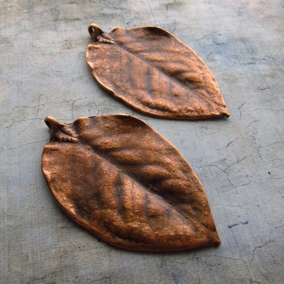 Extra Large Realistic Leaf Pendants in Antique Copper - Set of 2