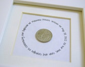 Lucky Sixpence Baptism keepsake gift personalised custom made Christening child baby