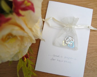 Lucky sixpence wedding card for bride