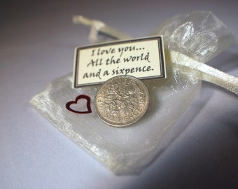 Valentines love token sixpence charm gift good luck