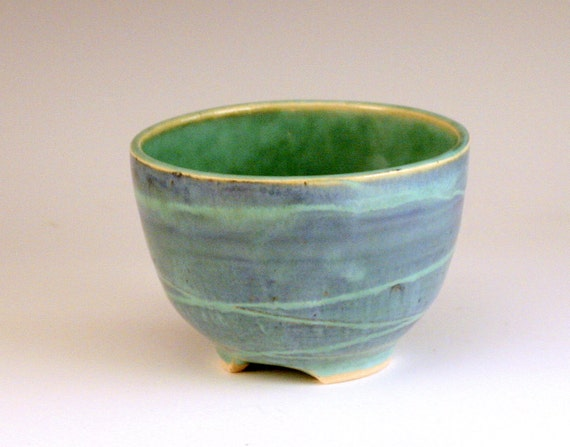 Handmade Carved Porcelain Ceramic Bowl in Shades of Blue and Green