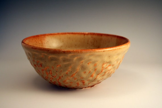 Handmade Rich Pumpkin Orange Carved Ceramic Bowl with Yellow and Amber Highlights