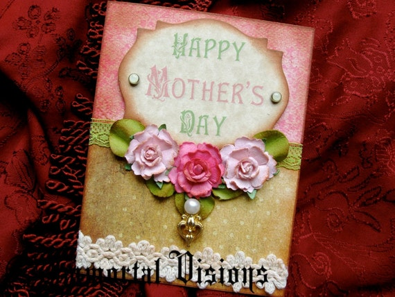 Shabby Chic Mother's Day Card - Vintage Green & Pink Bouquet