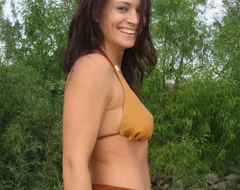 Leather Bikini Top in Saddle Tan