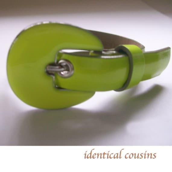 """SALE  Handmade """"beltlet"""" Bracelet Lime Green Recycled Upcycled Belt"""