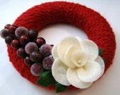 Christmas Wreath Christmas Charm 8 inch Christmas Yarn Wreath with White Felt Rose