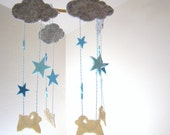 Counting Sheep Baby Mobile , Sheep and Stars Baby Mobile, Sheep Baby Shower Decor, Sheep Nursery Decor, Baby Gift