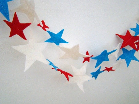 Star Garland : Fourth of July Patriotic Red , White and Blue Stars 9'2'' FREE SHIPPING