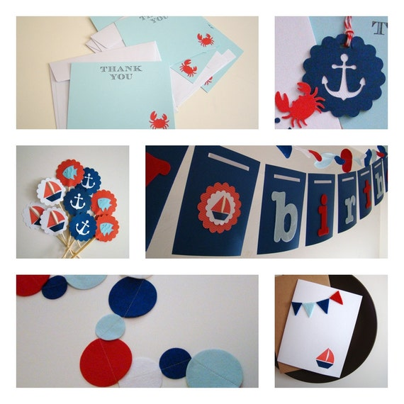 Nautical Birthday Package : Felt Banner, Felt Circle Garland, 12 Cupcake Toppers, Invitations, Thank You Notes, Favor Tags FREE SHIPPING