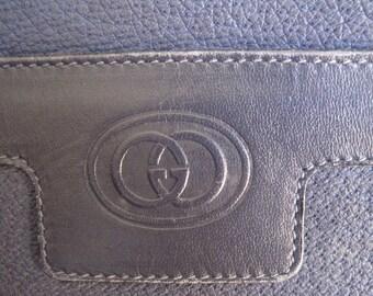 Vintage Gucci Navy Leather Bag, RARE