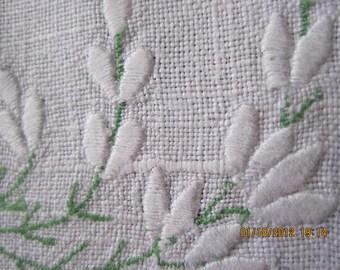 Vintage Linen Tea Cloth, White on White Embroidery, Drawnwork