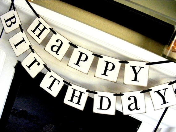 Happy Birthday Banner in Black and White, Sign, Party decoration, Photo Prop