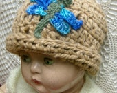 Baby Hat in Crocheted Organic Cotton with original design, Wool Dragonfly Motif
