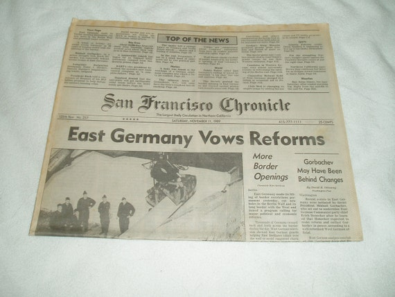 The san Francisco Chronicle, November 11th 1989, East Germany takes the wall down